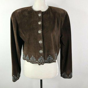 Double D Ranch Suede Jacket Small S Brown Cropped